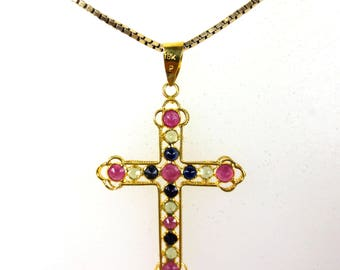 18k Gold Pendant Cross Crucifix 16 Rubies and Sapphires 1000 Value Certified