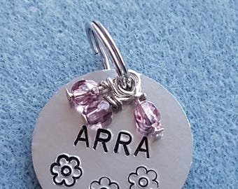 small aluminum pet ID tag with fire polished crystals