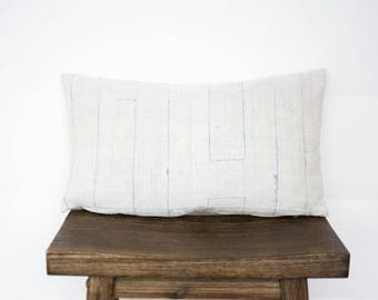 Simple Hmong Hemp Lumbar/ Hill Tribe/ Minimal/ Modern/ Lumbar Pillow Cover/ White Pillow/Bohemian/ Authentic/ Handmade/ Vintage/Hmong Pillow