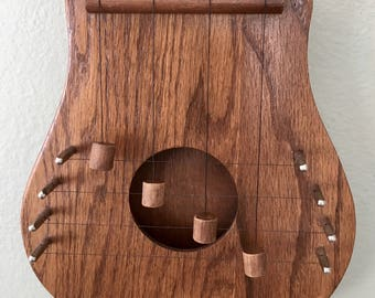 Door harps etsy vintage oak door harp chime with four strings easily tuned musical hand crafted door publicscrutiny Images
