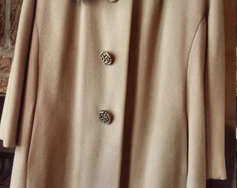 Vintage Fur Collar Long Beige Coat