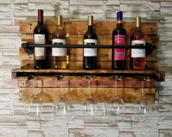 Rustic Wine Rack Rustic Pallet Offset Wood Wall Mounted