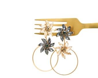 Gold Circle Earrings, Flower Gemstone Earrings, Geometric Earjacket, Gold Earrings, Gold Hoops, Statement Earrings,