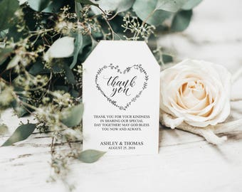 Wedding Favor Tags Printable, Wedding Favor Tag Template, Printable Favor Tags, Thank You Tags, Rustic Wedding Favor Tags, DIY, BD6054