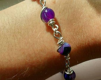 Natural Beauty Purple Striped Agate Hand-Crafted Silver-Plated Link Bracelet