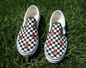 Checkered Slip On Vans Mini Rose Embroidery Shoes
