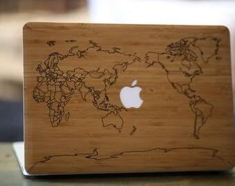 Macbook Wood Case for Apple Mac Air Pro 11 13 inch - World Map Bamboo Mac book Case - Mac Skin - Mac Sticker - Mac Cover Mac Case for gift