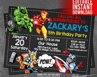 Avengers Invitation Instant Download, Avengers Invitations, Superhero Invitations, Avengers Birthday Invitation, Avengers Thank You Tag Free