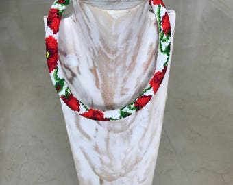 Red Flowers Beaded Necklace