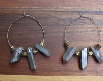 Silver Quartz Hoop Earrings