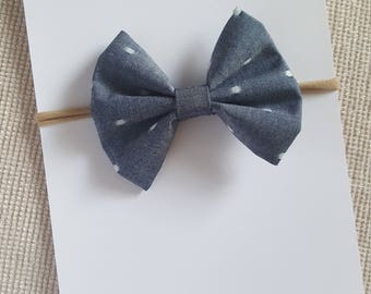 Chambray Polka dot Classic bow Headband- nylon- hair tie-fourth of july- baby toddler kids