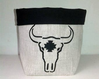Fabric storage basket pattern Buffalo head
