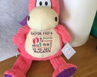 Personalised pink dragon embroidered cubbie
