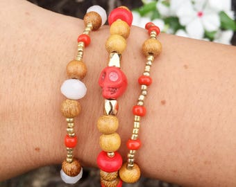 Red/Gold Beaded Bracelets