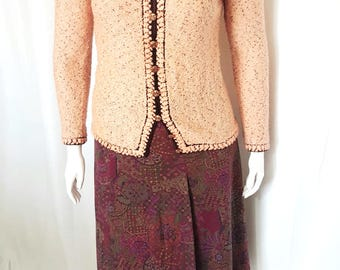 1970s vintage St. John's Knits for Robinsons boucle cardigan / size L / plus sized vintage sweaters
