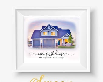 Our First Home, First Home Print, Home Print, Housewarming Gift, Personalized Home Gift, First Home Gift, Our First Home Sign, House Closing