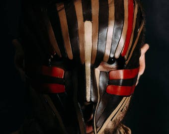 Unique Leather Mask,In brown, red,Warrior's mask