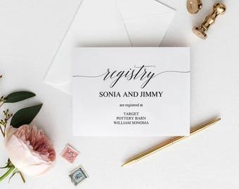 wedding registry insert