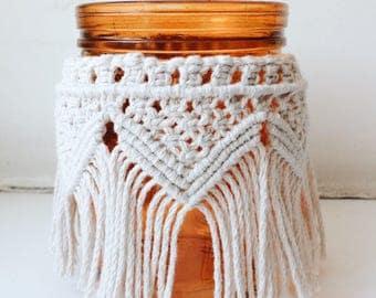 Macrame Vase, Candle Holders Wedding, Macrame Holder, Macrame Candle Holder, Vase, Candle Holder, Flower Vase Decor, Hurricane Candle Holder