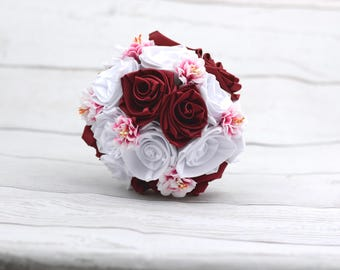 White wine Red satin wedding bouquet roses, wedding bouquet, flower bouquet, bouquet, satin roses, original
