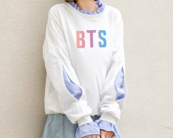 BTS Sweatshirt Bangtan Boys K-Pop Hoodie Warm Shirt Korean Sweater Sweatshirt Long Sleeve Harajuku Japanese Oversized Rainbow Logo