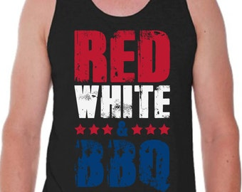 Red white BBQ tank top 4th of july tank top fourth of july tank top usa tank top us tank top