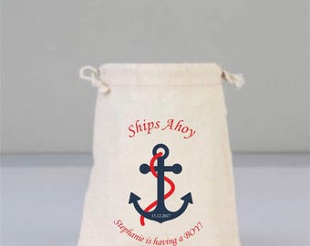 Personalized Baby Shower Ship Ahoy Pouch with Anchor, Baby Shower Decorations,  Baby Shower Party, Baby Shower, Cotton Bag Drawstring