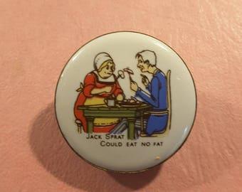 Nursery rhyme button ceramic 1960's