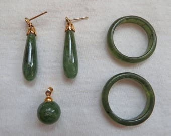Lot of Vintage Nephrite Jewelry ~ Earrings, Pendant and Two Rings