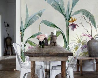 Removable wallpaper - Jungle Exotique Wallpaper - Floral Wallpaper - Tropical Wallpaper- Wall Covering Wallpaper - Wallpaper - Wall Mural