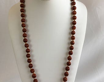Brown Silk Wrapped Bead Necklace, Vintage, 1990s