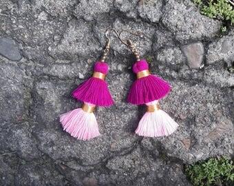 Pink tassels earrings, 2 pink tassels earrings,pink earrings,2 tiered tassels earrings,Hand made earring,Chic earrings