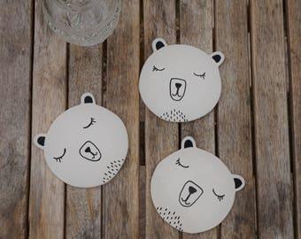 Ice Bear Coaster - Handmade Ceramic Coaster - Animal Coaster - Drink Coaster - Housewarming Gift - Woodland Coaster - Drink - Tea Coaster