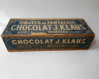 Very Rare Antique Wooden Crate with Lid, Box from J. Klaus Chocolat