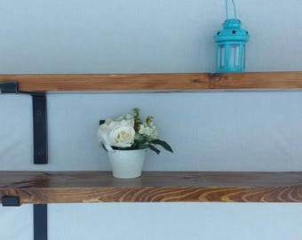Solid Pine Shelving Georgian Oak Stain With Metal Brackets 40CM-150CM