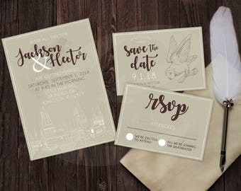 harry potter themed wedding invitation rsvp save the date dyi template - Harry Potter Wedding Invitations