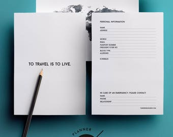 Vacation planner kit, trip itinerary, trip organizer, vacation packing, trip planner kit, travel journal pages, travel itinerary