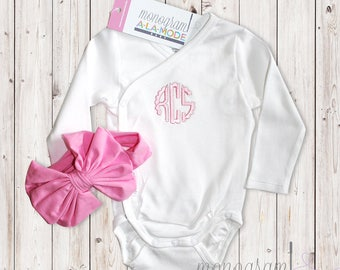 Baby Scallop Monogram Wrap Front Onesie with Matching Cotton Bow Headband