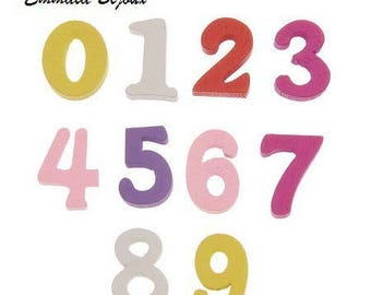 12 colorful numbers 15 x 12 mm wooden embellishments