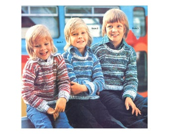 Knitted Striped Boys Sweaters - Knitting Pattern - Long sleeve, warm, speckled design