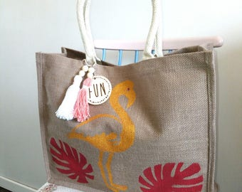 """Flamingo"" jute basket, beach/Shopping tote bag"