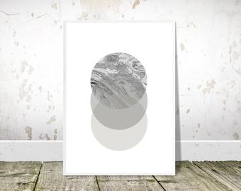 Black White Abstract, Geometric circles, PRINTABLE art, Nordic Print, Scandinavian Wall Art, Scandi Minimalist Print, Modern Abstract Decor