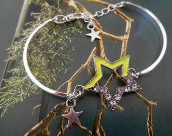 Neon yellow rhinestone and Silver Star bracelet.