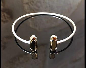 Bangle Bracelet - Cabochon - sterling silver Swarovski Crystal - Bohemia - Baroque