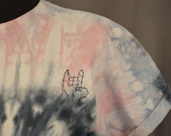 Hand,  Hand Stitched Tie dyed T-Shirt