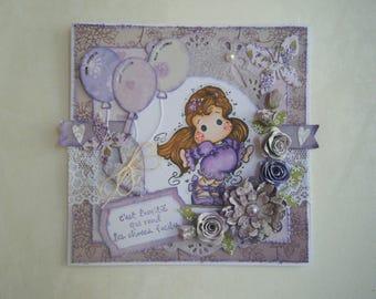 Shabby chic style, purple tones friendship card