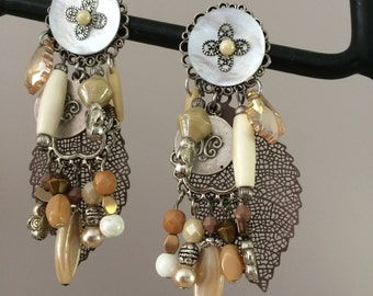in shades of Brown clip earrings