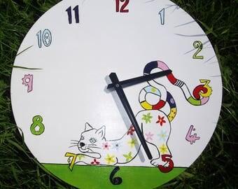 Cat hand painted wooden modern cat clock