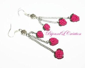 Raspberry earrings long