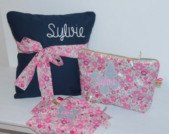 Toiletry bag personalized liberty coated Betsy bougainvillea